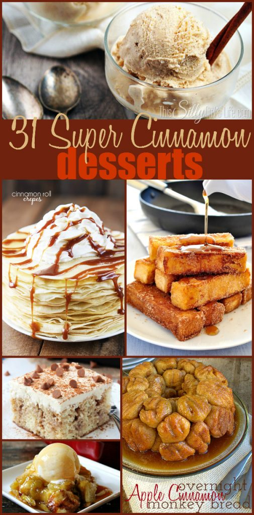 31 Super Cinnamon Desserts, a round up of yummy cinnamon desserts, just in time for fall! (Or anytime really, YUM!)