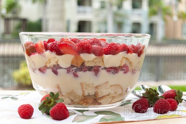 Red Berries Trifle, fresh berries are layered with cake and sweet cream.