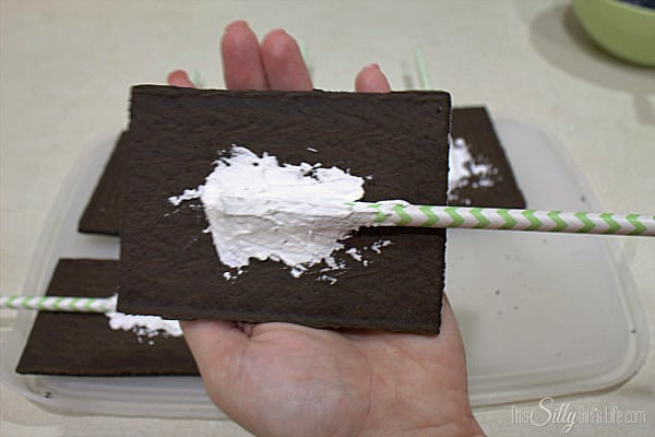 Open desired amount of pop tarts. Secure them with a cake pop stick to the back using royal icing. Let sit over night covered so the icing will harden.