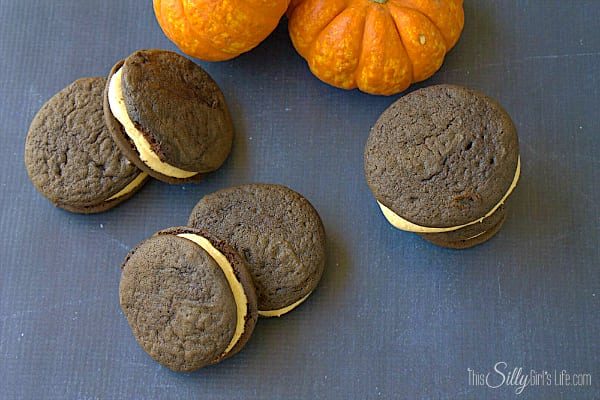 Homemade Pumpkin Oreos, soft cake like chocolate cookies with pumpkin cream cheese filling, a taste of fall!