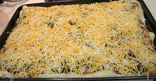 Layer on the cheese evenly,