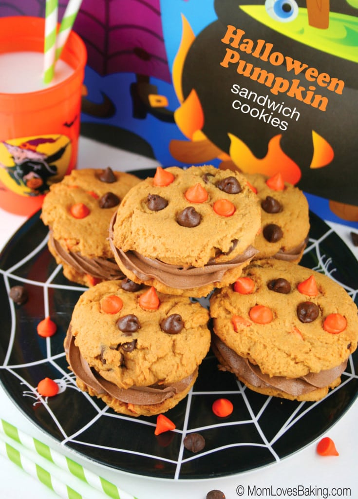 Halloween Pumpkin Sandwich Cookies, These festive cookies are perfect for a Halloween party, football gathering or to cure that pumpkin craving that comes around this time of year.