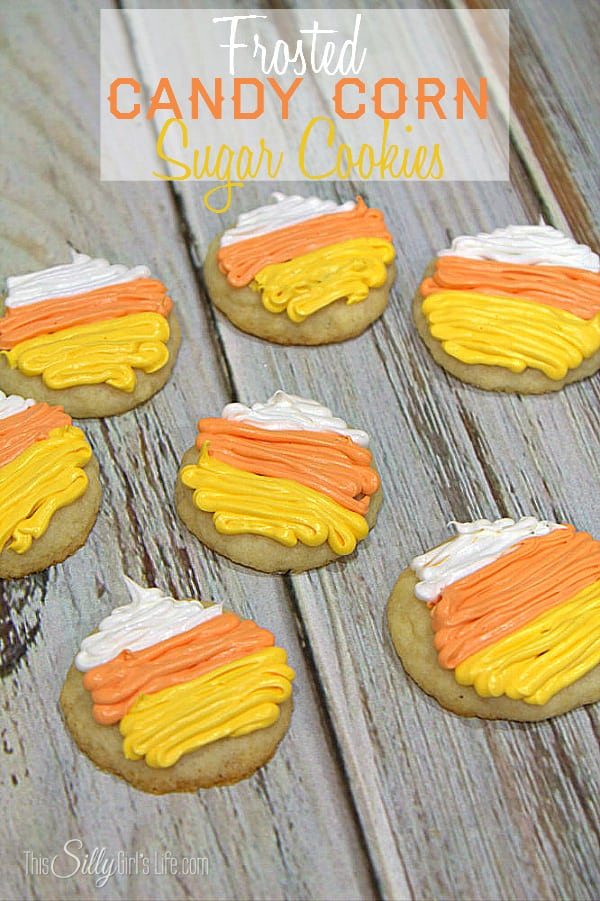Frosted Candy Corn Sugar Cookies, simple cookie mix cookies decorated in cute candy corn colors with whipped vanilla frosting! - ThisSillyGirlsLife.com #DGHoliday #ad