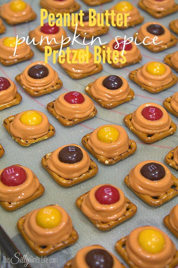 Peanut Butter Pumpkin Spice Pretzel Bites, classic pretzel bites with fun fall flavors! - ThisSillyGirlsLife.com