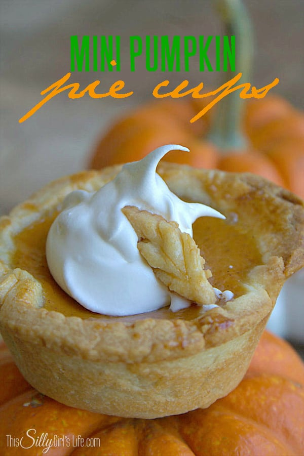 Mini Pumpkin Pie Cups, classic individual pumpkin pies perfect for gatherings or a fun fall treat! - ThisSillyGirlsLife.com