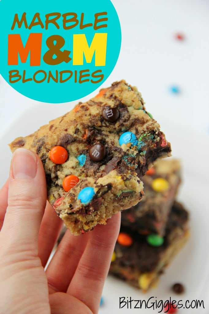 Marble M&M Blondies, vanilla and chocolate combine to make the most insane blondies ever, and the addition of M&M's just take it over the top!
