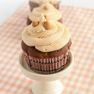 Reese's Peanut Butter Chips Cupcakes with White Chocolate Frosting