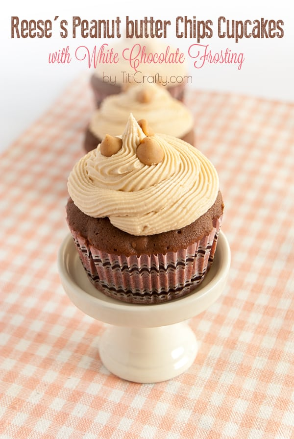 Reese's Peanut Butter Chips Cupcakes with White Chocolate Frosting, totally decadent, totally delicious!