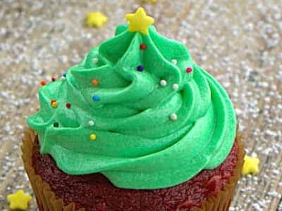 Christmas Tree Frosted Cupcakes