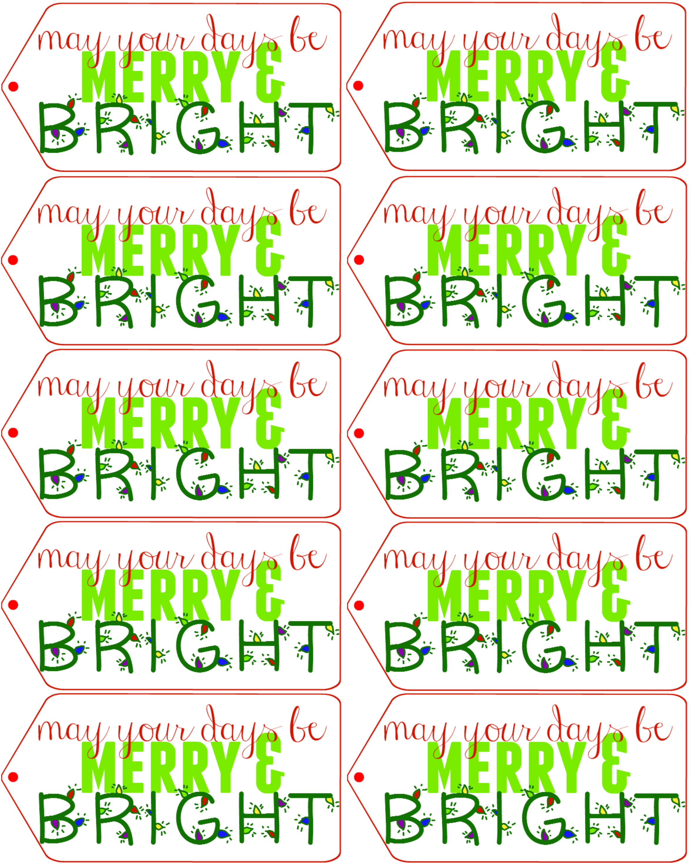 """May your days be merry & bright"" Free holiday gift tag printable! - ThisSillyGirlsLife.com #TasteTheSeason #ad"