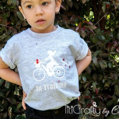 Girl on Bike Heat Transfer Vinyl and Rhinestones T-Shirt Tutorial {contributor Cami}