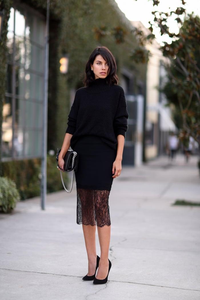 NICHOLAS_midi_lace_trim_skirt