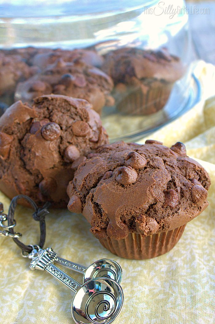 Bakery Style Double Chocolate Chip Muffins, chocolate muffins studded with chocolate chips, your favorite bakery treat! - ThisSillyGirlsLife.com #ChocolateChipMuffins