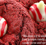 Candy Cane Red Velvet Blossom Cookies