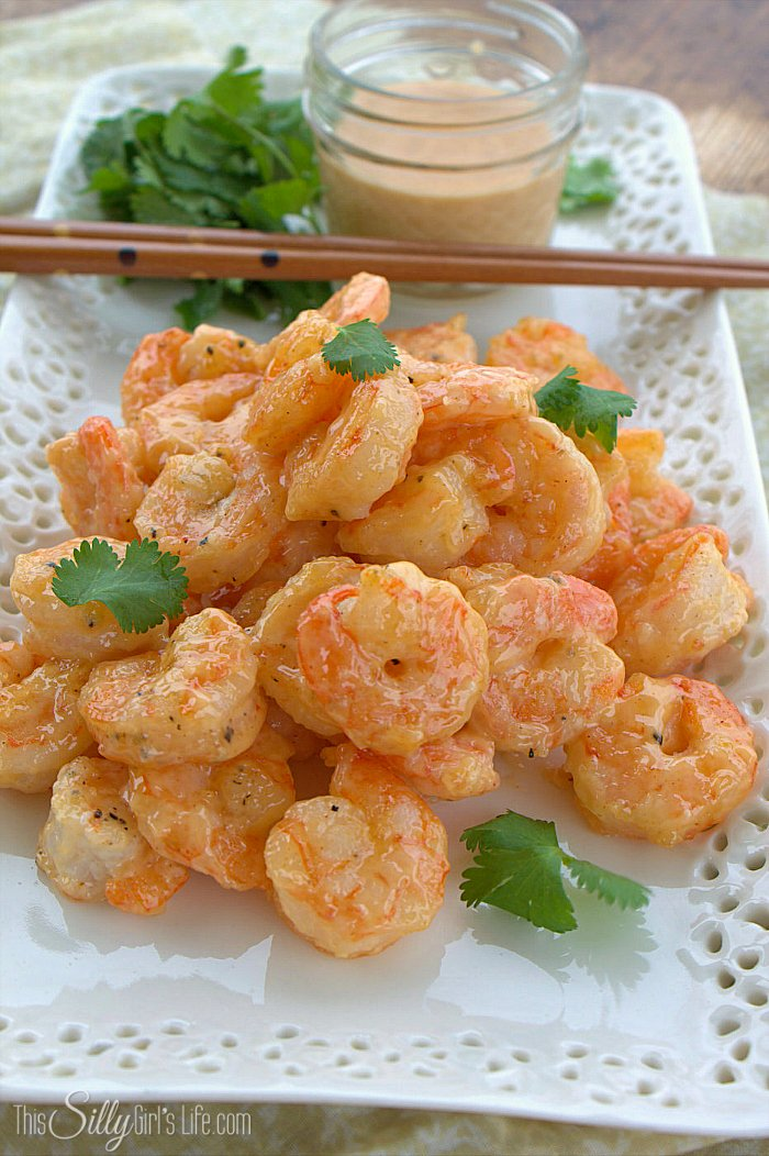 Chipotle Bang Bang Shrimp, pan fried shrimp tossed in a creamy sweet and smokey sauce! - ThisSillyGirlsLife.com #SeasonedGreetings #ad #BangBangShrimp