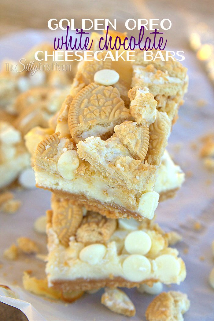 Golden Oreo White Chocolate Cheesecake Bars