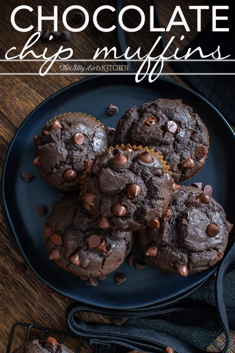 Chocolate Chip Muffins, chocolate muffins studded with chocolate chips, your favorite bakery treat! #recipe from thissillygirlskitchen.com #chocolatechipmuffins #chocolatemuffins #muffins