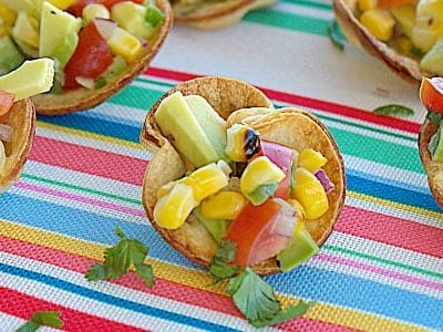 Roasted Corn and Avocado Salsa Cups {Using avocados from Mexico}