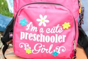 Cute Preschooler Heat Transfer Vinyl Backpack {contributor Cami}