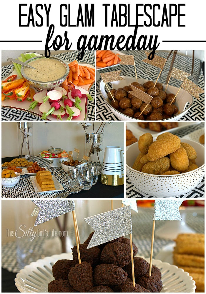Make your Game Day party stand out with this Easy Glam Tablescape! #FarmRichHack #ad