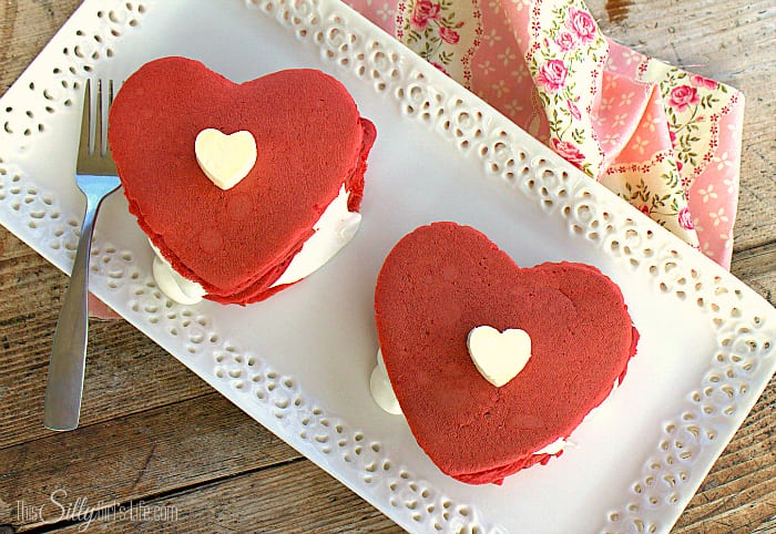 Red Velvet Pancakes with Cream Cheese Fluff, surprise your sweetie or little ones with a sweet treat for Valentine's Day breakfast! - ThisSillyGirlsLife.com