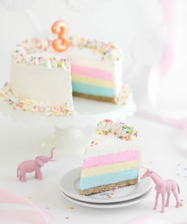 SprinkleBakes 3rd Birthday Tri-color birthday cheesecake 5