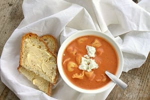 Slow Cooker Tomato Soup with Tortellini and Goat Cheese