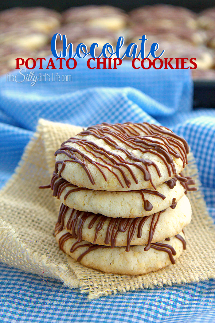 Chocolate Potato Chip Cookies, crispy butter cookies made with crushed potato chips, drizzled with melted milk chocolate! - ThisSillyGirlslife.com