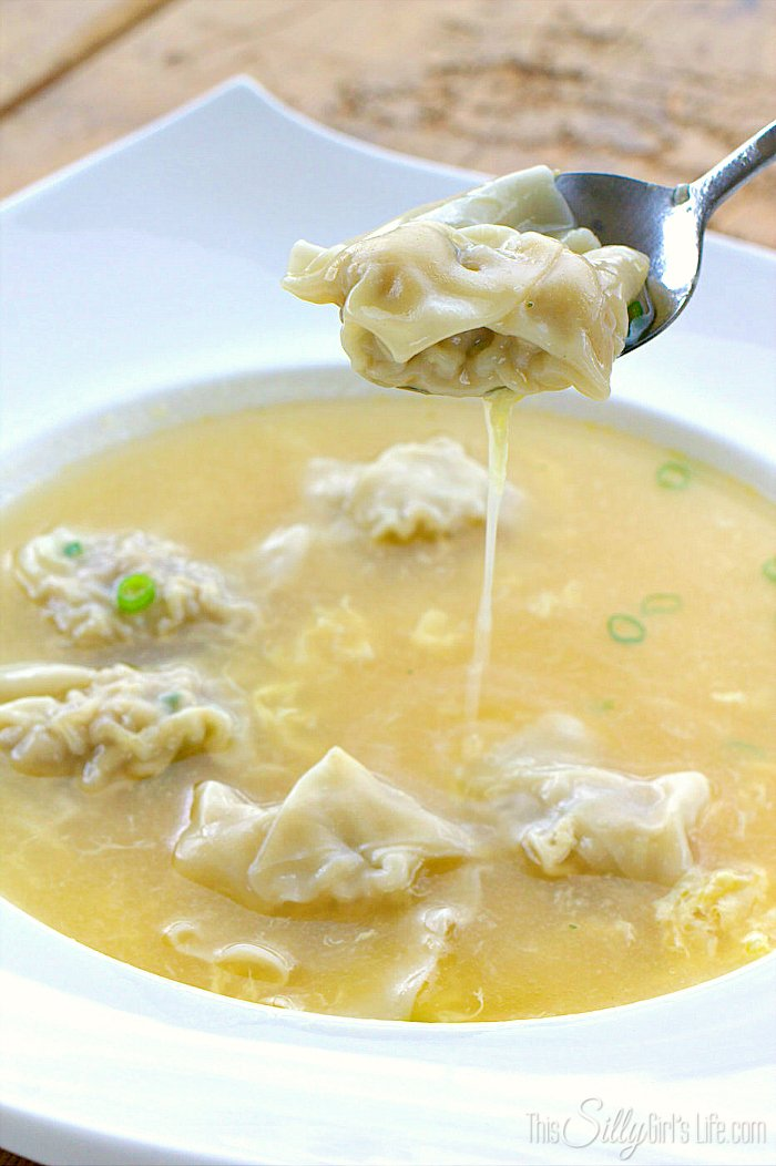 Wonton Egg Drop Soup, two favorite soups combine into the ultimate warm and comforting dish! - ThisSillyGirlsLife.com #WontonSoup #EggDropSoup