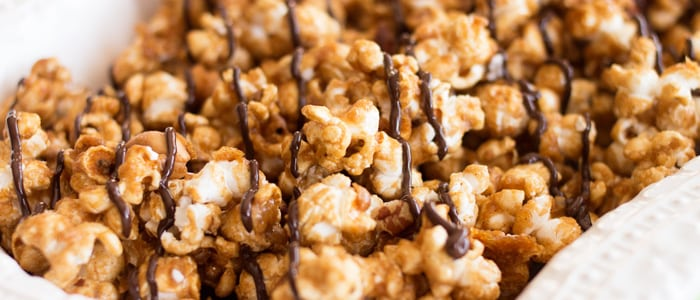 Recipe for Orange Spice Caramel Corn (with a dark chocolate drizzle, just to make it special!)