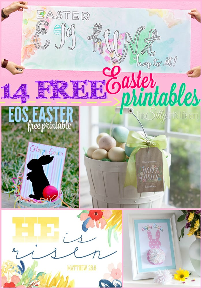 14 Free Easter Printables, free printable Easter decor for your home plus gift tags, banners and more! - ThisSillyGirlsLife.com #FreePrintables #EasterPrintables