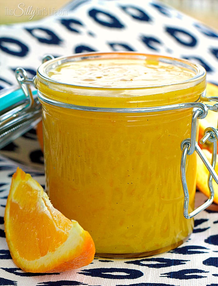 Vanilla Bean Orange Curd, fresh squeezed orange juice made into a rich and smooth spread with hints of vanilla. - ThisSillyGirlsLife.com