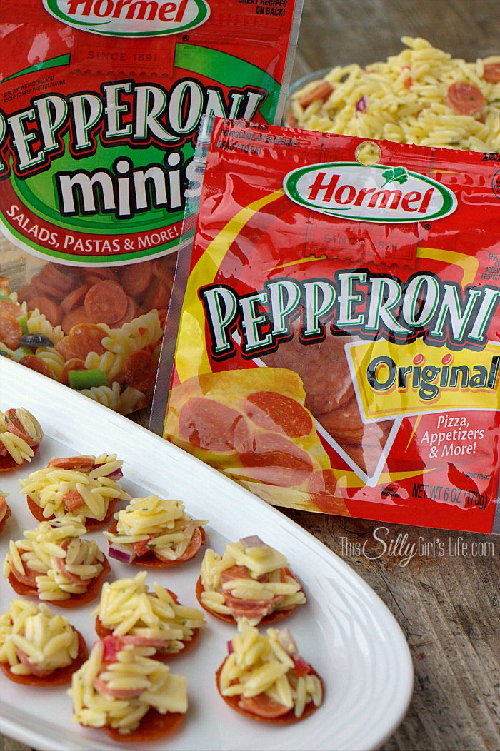 Pasta Salad Pepperoni Cups, Hormel Pepperoni baked until crispy and topped with a creamy orzo pasta salad! - ThisSillyGirlsLife.com #PepItUp #Ad