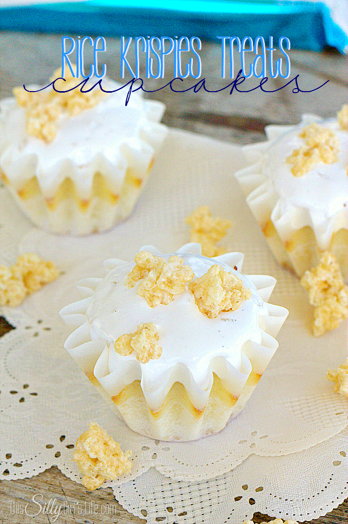 Rice Krispies Treats Cupcakes, moist vanilla cupcakes topped with Marshmallow Rice Krispies Treats frosting! - ThisSillyGirlsLife.com #KreateMyHappy #Ad
