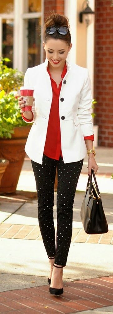 white-blazer-and-dotted-pants