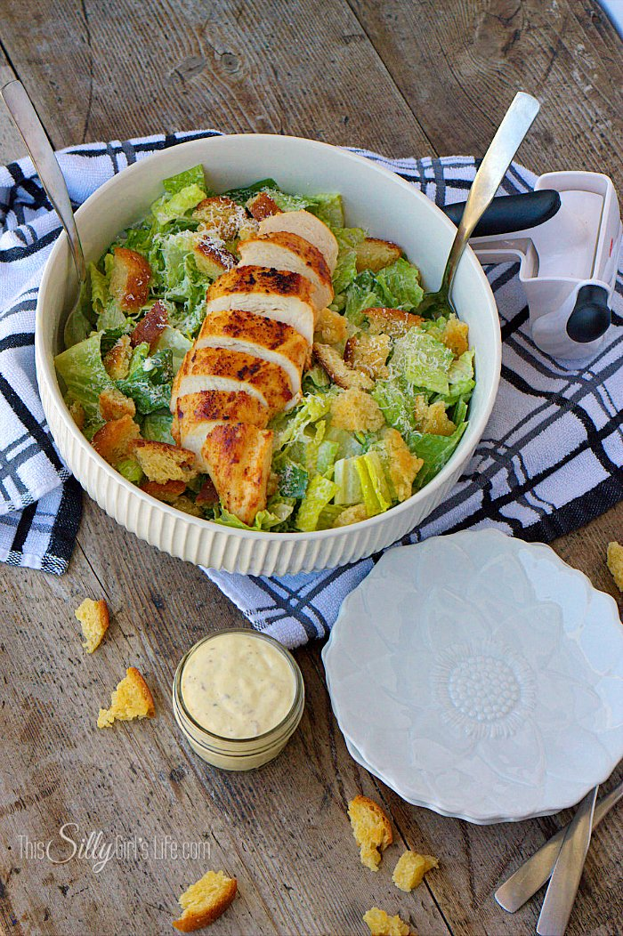 Smoked Caesar Salad with Chicken, a yummy recipe for smoked Caesar dressing, add salad ingredients, top with your favorite chicken and dinner is served! - ThisSillyGirlsLife.com #CaesarSalad