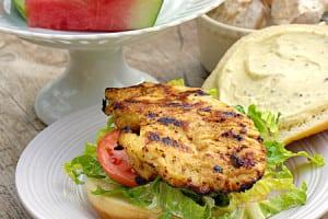 Mustard Grilled Chicken Sandwiches with Creamy Mustard Sauce