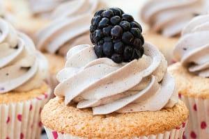 Angel Food Cupcakes with Blackberry Frosting