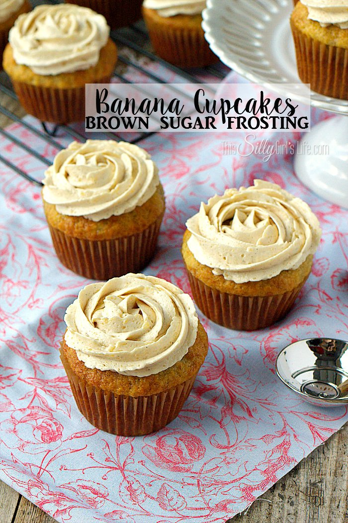 Banana Cupcakes with Brown Sugar Frosting, light, moist banana cupcakes are topped with THE BEST brown sugar frosting. Best. Cupcakes. Ever. - ThisSillyGirlsLife.com #BananaCupcakes #BrownSugarCupcakes