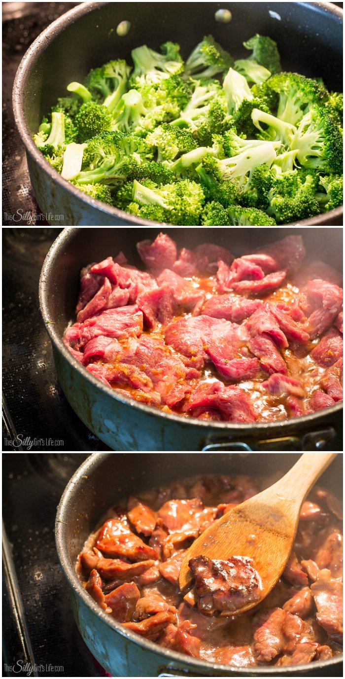 Better Than Take Out Beef and Broccoli, tender flank steak marinated and seared at a high temp, mixed with broccoli in a thick soy based gravy, like your favorite take out, but better! - ThisSillyGirlsLife.com #Beef&Broccoli #BeefandBroccoli #TakeOut #Copycat
