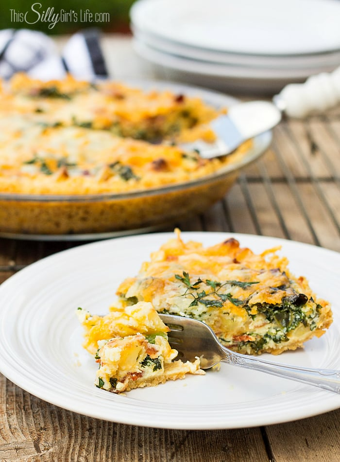 Cheesy Bacon and Kale Quiche, hearty ingredients like potatoes, bacon, cheese and kale are mixed together with eggs and poured into a oyster cracker crust. Baked to bubbly goodness! - ThisSillyGirlsLife.com #ad #ChoppedAtHome