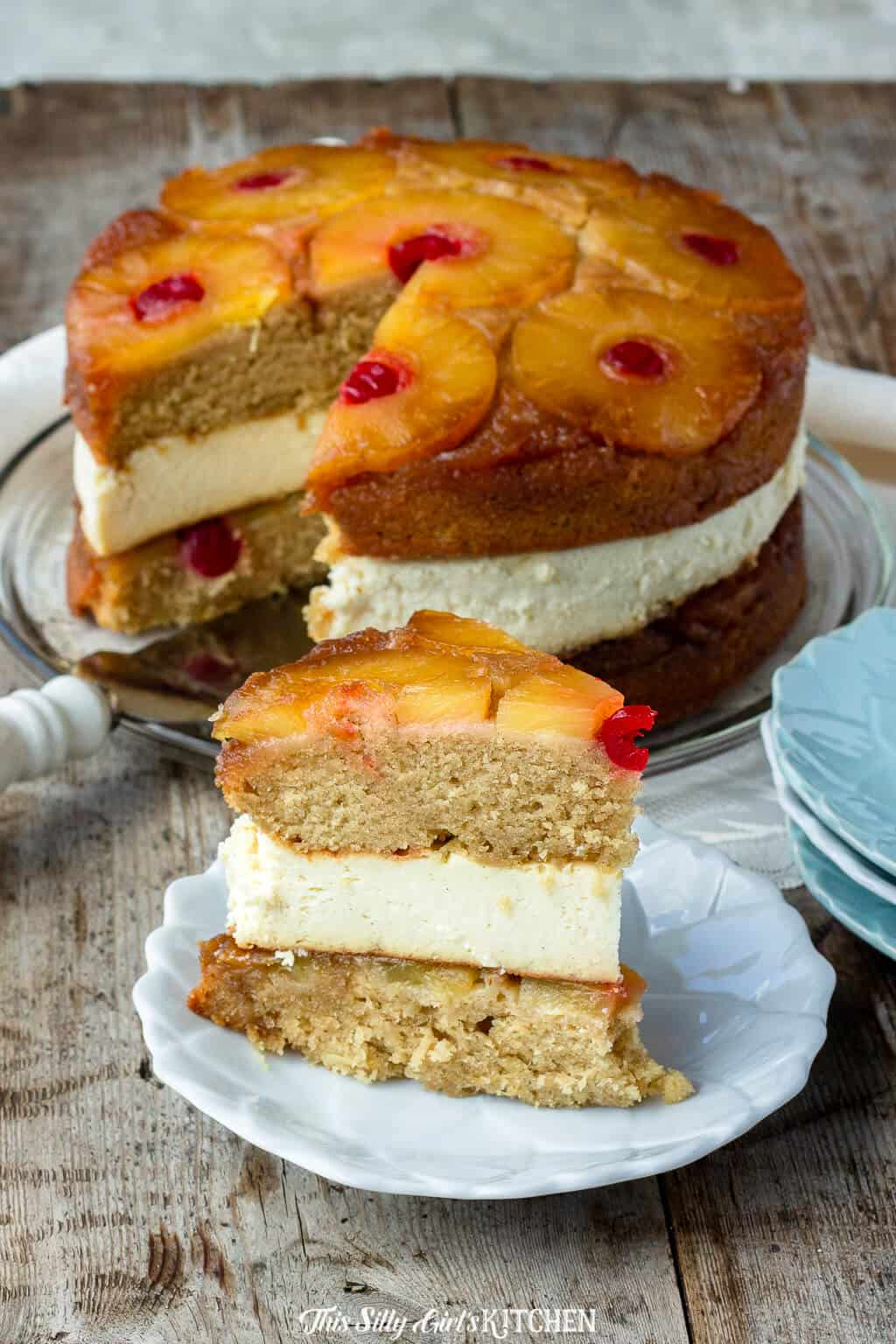 Pineapple Upside Down Cheesecake, two layers of buttery pineapple upside-down cake stuffed with pineapple cheesecake, just like The Cheesecake Factory... but homemade! #recipe from thissillygirlskitchen.com #cheesecake #pinappleupsidedowncake #pineappleupsidedowncheesecake #cheesecakefactory