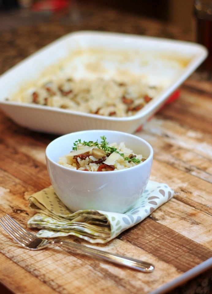 Oven Baked Risotto with Bacon and Mushrooms, The pairing of smoky hardwood bacon with the woodsy, earthy taste of baby Bella mushrooms completely transforms this delicious side dish.