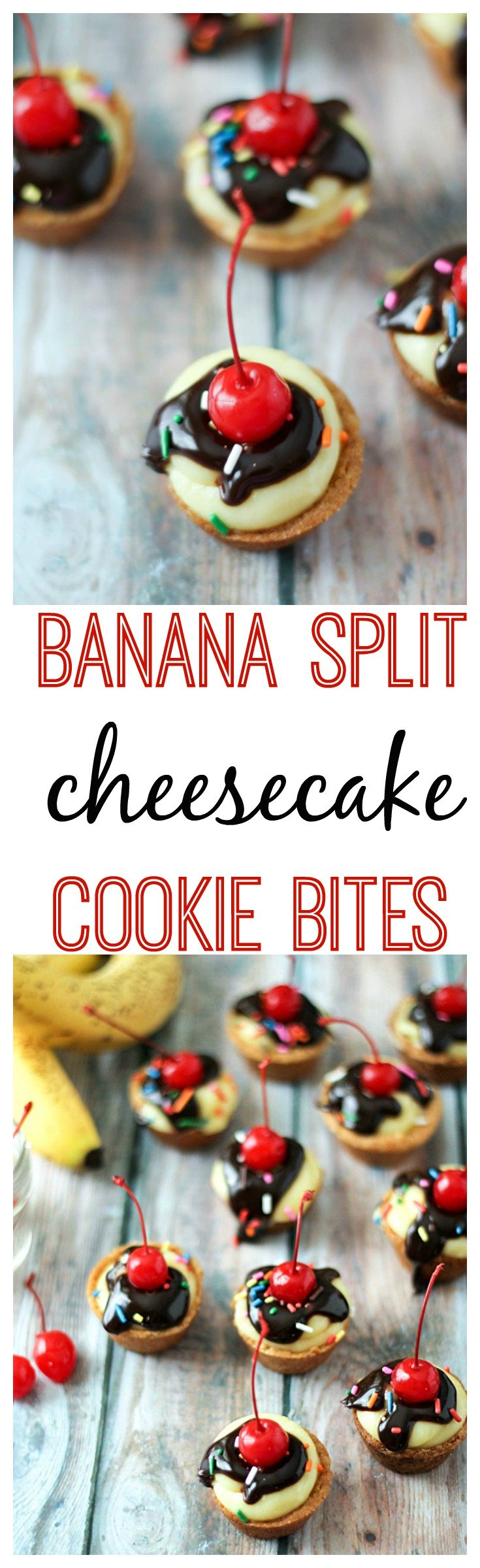 Banana Split Cheesecake Cookie Bites