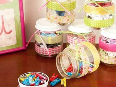 Washi Tape Recycled Jars {contributor Cami}
