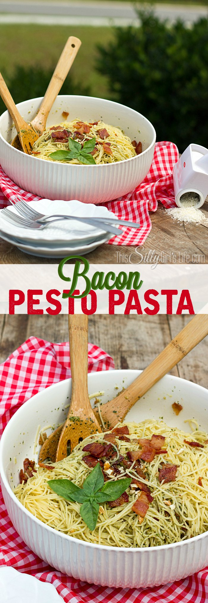 Bacon Pesto Pasta, a quick meal solution for busy weeknight dinners! Homemade pesto, bacon and pasta mix for a winning combo! - ThisSillyGirlsLife.com @Walmart #boldbacon #pestopasta