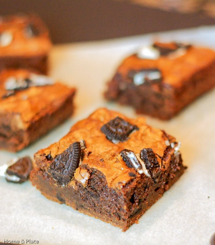 Oreo Brownies, classic homemade fudgy brownies packed with Oreo cookie pieces!