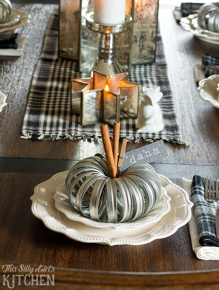 Mason Jar Lid Pumpkin Place Settings, a super cute and crafty place setting for your Thanksgiving tablescape! from ThisSillyGirlsLife.com #masonjarcrafts #decoratewithorkin #ad