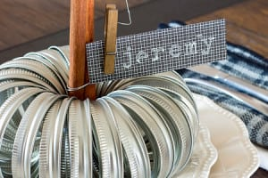 Mason Jar Lid Pumpkin Place Settings