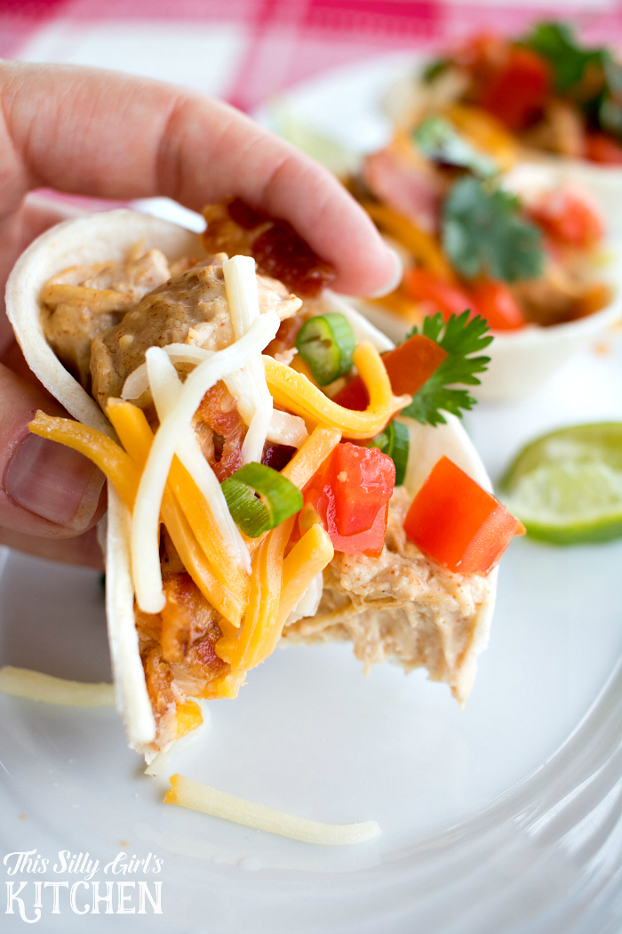 "Chipotle ""Crack Chicken"" Tacos, spicy, creamy and addictive. Great for homegating parties or Tuesday night! from ThisSillyGirlsLife.com #ad"